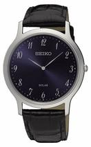 Seiko Men's SUP861 Solar Black Leather Watch - $99.66