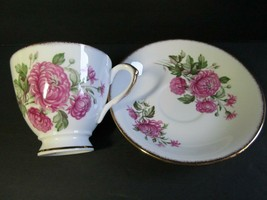 Rosina England Teacup Saucer Fine Bone China Floral Pink Peony Pattern - $16.83