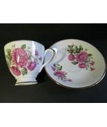 Rosina England Teacup Saucer Fine Bone China Floral Pink Peony Pattern - $16.83