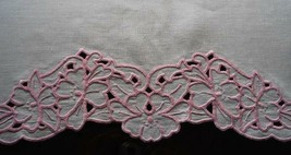 Vintage Linen Dresser Scarf Table Mantel Runner Pink Cutwork Embroidery ... - $13.99