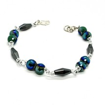 Bracelet the Aluminium Long 19 Inch with Hematite and Crystal Dark Green image 2