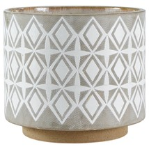 Geometric Ceramic Planter Stoneware Plant Holder Display Indoor Decor Wh... - $93.03 CAD