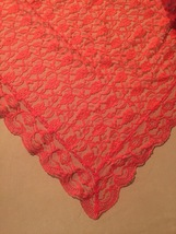 """Vintage 70s Red Polyester """"lace"""" rectangular table cloth/festive overlay image 4"""