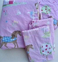 Company Store Kids Full Size Pony 4-Pc Sheet Set Horses Equestiran Weste... - $45.00