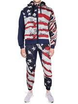 Lavish Society Men's US Flag Athletic Zip Up Hoodie Jacket Pants Tracksuit Set