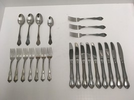 "Oneida ""TRUE ARBOR ROSE"" Stainless Steel Flatware 23 Pieces Mixed Lot GUC - $28.04"