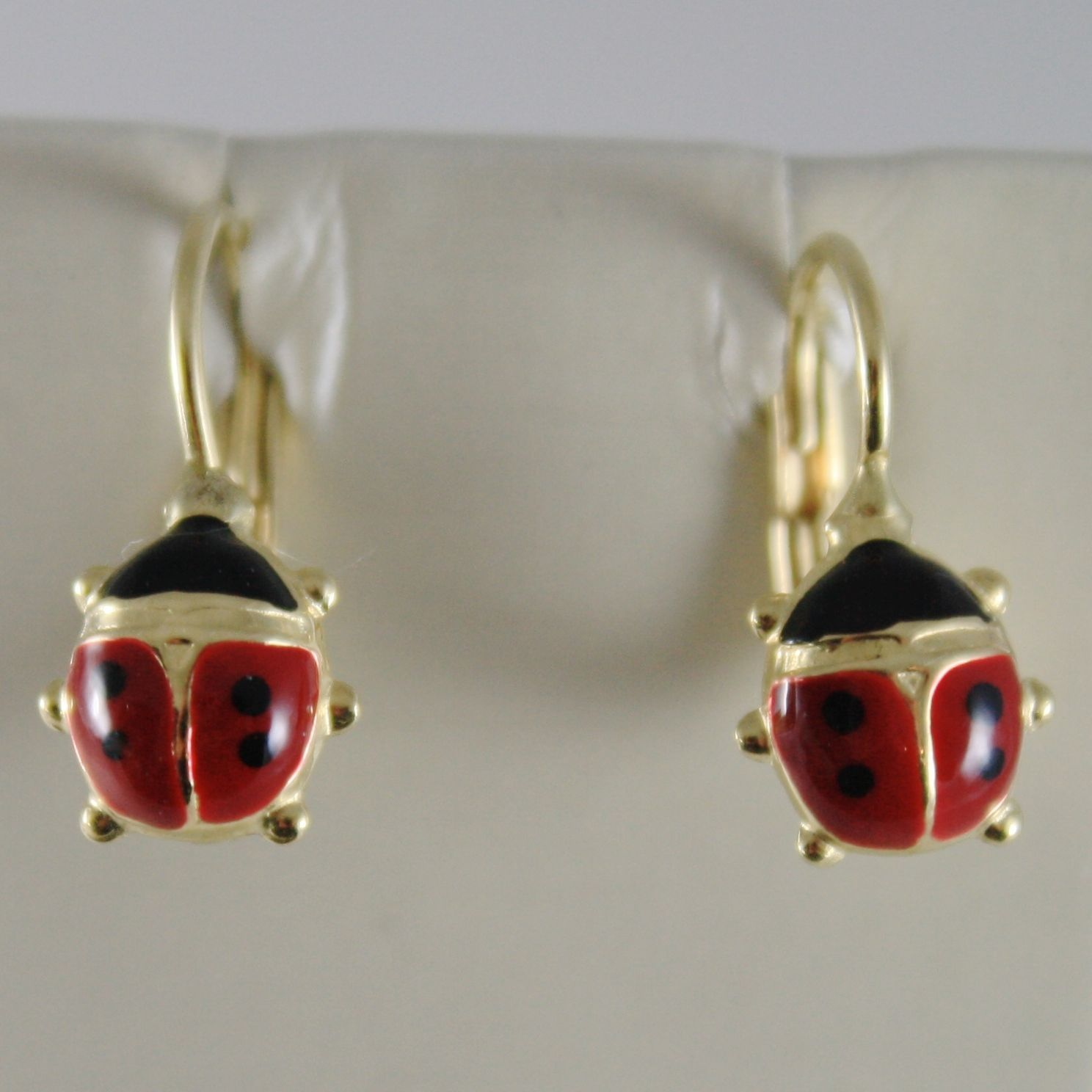 18K YELLOW GOLD PENDANT EARRINGS GLAZED LADYBIRD LADYBUG FOR KIDS MADE IN ITALY