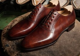Handmade Men's Heart Medallion Leather Dress/Formal Oxford Shoes image 3