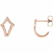 Geometric J-Hoop Earrings In 14K Rose Gold - $173.25