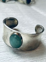 Estate Wide 925 Mexico Signed Silver Cuff with Light Green Oval Stone Br... - $46.60