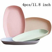 Wheat Straw Plastic Plates Dinnerware Set/Reusable-Unbreakable Dinner Plate/Eco  image 2