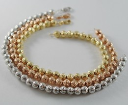 THREE 18K WHITE ROSE AND YELLOW GOLD BRACELET BRACELETS WITH BALLS MADE IN ITALY image 1