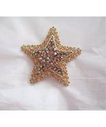 "Vintage Karu Star Brooch Gray Bronze Rhinestone gold tone Filigree 2.25"" - $39.59"