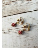 Vintage Clip On Earrings Small Gold Tone Swirl Red Ball - $12.99