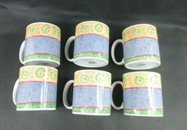 1995 Sakura MALAGA Sue Zipkin Coffee Mugs/Cups - Genuine Stoneware - Lot of 6 - $43.41