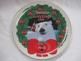 1994 Coca-Cola Collectible Christmas Bear Plate - NIB - $31.93