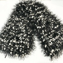 Handmade Black and White Pom Pom Frill Scarf - $5.88
