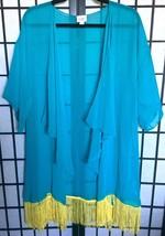 LuLaRoe MONROE Kimono L Teal Blue Beach CoverUp BOHO Festival NWT - $37.19