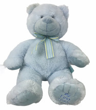 """russ berrie blue my first teddy bear with bow plush 18"""" tall sewn eyes - $47.51"""