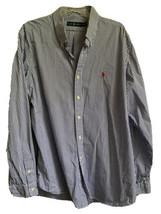 Polo Ralph Lauren Mens Sz XXL Cotton Shirt Blue White Striped Button Up - $39.97