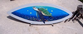 Green sea turtle underwater sea life handcrafted wooden surfboard hand p... - $171.02 CAD