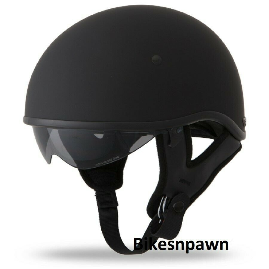 New L Flat Black Fly Racing DOT Approved .357 Motorcycle Half Helmet