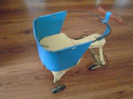 Vintage Blue White Metal & Wood Doll Walker Stroller with no handle  - $39.59