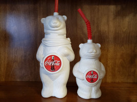 Two Vintage Coca Cola Plastic Bear Cups - $26.95