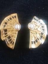 Vintage Faux Pearl Ornate Fan Earrings Gold Tone - $3.00