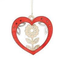 Laser Wood Ornament Flourish  Woodland Heart