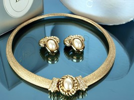 Auth CHRISTIAN DIOR Snake Style Choker Necklace Crystals w/ Pearl Earrings Set - $494.01