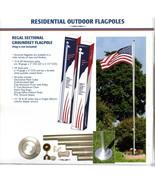 15 FT. FLAGZONE ALUMINUM FLAGPOLE W/(2) 3'X5' U.S FLAGS & (4) CAR ANTENN... - $270.00