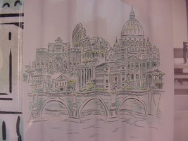 Cynthia Rowley Rome Italy White/Black/Aqua/Green Shower Curtain - $34.00