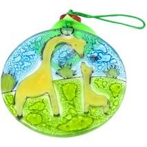 Fused Art Glass Giraffe Mom & Baby Family Ornament Handmade in Ecuador image 2