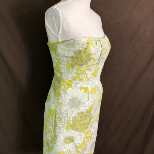 J Crew Women's Dress Printed Erica Strapless Floral Yellow Cotton Size 6 $275 image 3