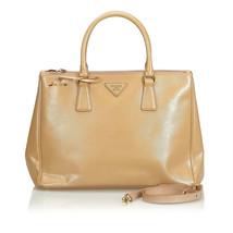 Authentic Prada Brown Medium Saffiano Lux Double Zip Galleria Satchel Italy - $1,006.44