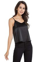 AUQCO Women Satin Camisole Tank Top Silky with Adjustable Strap - $18.41