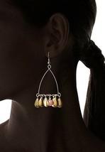 USA Made Gemelli Gold Glitter Fringe Chandelier Earring Pink Quartz Gemstone NWT image 2