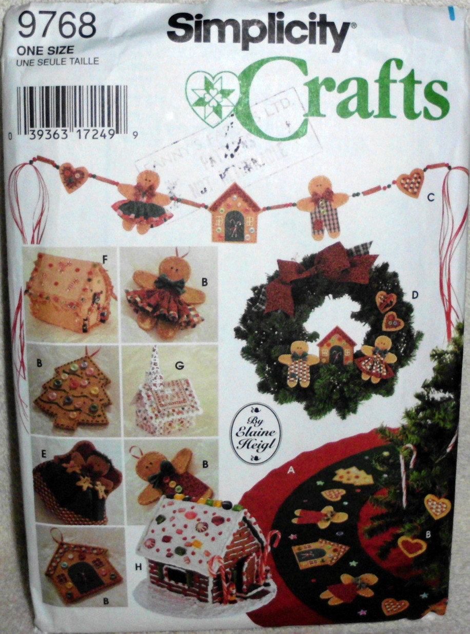 Simplicity 9768 Crafts, Christmas No sew, Tree Topper, Ornaments Swag Tree Skirt