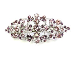 Purple Hair Barrette Clip Bridal Bridesmaid Flo... - $7.33