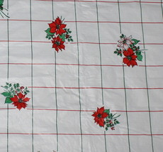 Vintage 52 x 52 White Vinyl Christmas Tablecloth Flannel Back Red Poinse... - $12.82