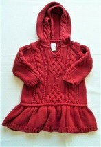 Baby Gap Chunky Cable Knit Red Holiday Xmas Sweater Dress Hood Girl 6-12 - $17.81