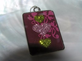 Estate Large Burgundy with Sparkly Green & Pink Hearts Rectangle Silvert... - $8.59