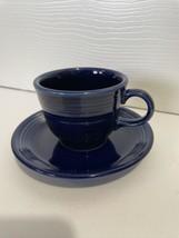 Fiesta Ware Teacup And Saucer Set Colbalt Blue - $12.99