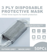 【50 Pcs】Gray Face Mask Disposable Non Medical Surgical 3-Ply Earloop Mou... - $14.96