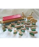 "Wooden Noah's Ark with 22 wooden animals, 12"" long, assume handmade, gre... - $45.00"