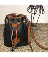 Dooney & Bourke Blue Leather Drawstring Bag Purse - $74.25