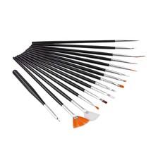 15pcs Nail Art Design Painting Drawing Dotting Pen Brush DIY Tool Set (Black)