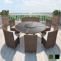 vidaXL Outdoor Dining Set 13 Piece Poly Rattan Wicker Table Chair Brown/... - $982.99+