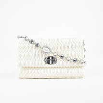 Miu Miu $2040 Off White Matelasse Leather Crystal Embellished Shoulder Bag - $1,615.00